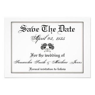Casamento vintage formal branco preto convite