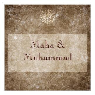 Casamento vintage/noivado marrons islâmicos convite personalizados