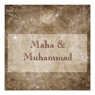 Casamento vintage/noivado marrons islâmicos convite quadrado 13.35 x 13.35cm