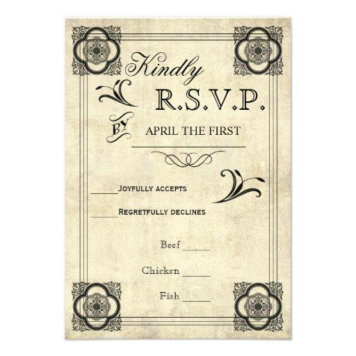 Casamento vintage RSVP da tipografia do pergaminho Convites Personalizado