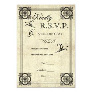 Casamento vintage RSVP da tipografia do pergaminho Convite 8.89 X 12.7cm