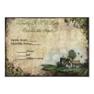 Casamento vintage RSVP do verde da igreja do Convite 8.89 X 12.7cm
