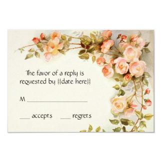 Casamento vintage RSVP, flores cor-de-rosa antigas Convite 8.89 X 12.7cm