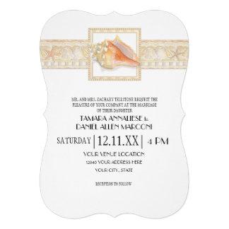 Casamentos elegantes de Shell do Conch do damasco  Convite Personalizado