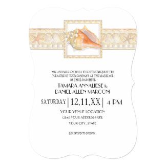 Casamentos elegantes de Shell do Conch do damasco Convite 12.7 X 17.78cm
