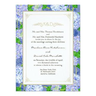 Casamentos elegantes formais florais do laço azul convite 16.51 x 22.22cm