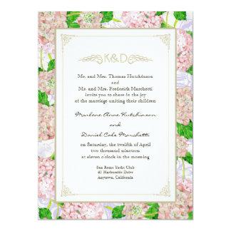 Casamentos elegantes formais florais do laço convite 16.51 x 22.22cm