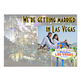 Casar-se no cartão com fotos de Las Vegas Convite 12.7 X 17.78cm