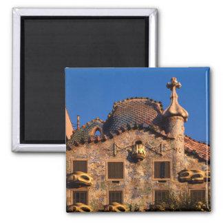 Casas Batilo, arquitetura de Gaudi, Barcelona, Ímã Quadrado