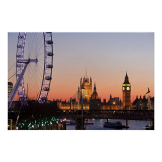 Casas do parlamento & do olho de Londres Pôster