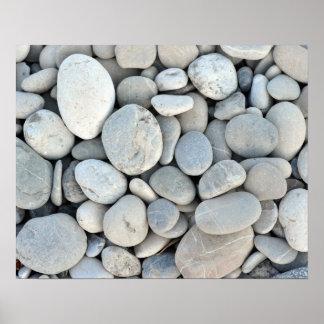 cascalho de pedra redondo da natureza de minerais  pôster