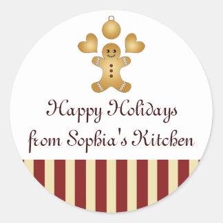 Caseiro listrado vermelho dos biscoitos do feriado adesivo