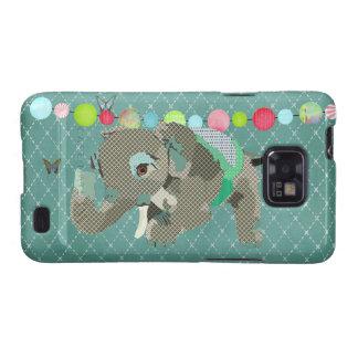 Caso afortunado do verde do elefante de Lil Capa Samsung Galaxy S2