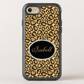 Caso chique do monograma do impressão do leopardo capa para iPhone 7 OtterBox symmetry