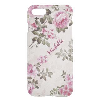 Caso claro floral do vintage do nome simples capa iPhone 7