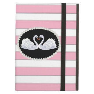 Caso cor-de-rosa elegante de Ipad das cisnes da