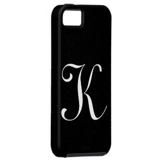 Caso de IPhone 5 do preto do monograma de K Capa Para iPhone 5