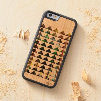 "caso de madeira 6/6S ""Tri Floresta"" Heevs™ do Capa Cherry Bumper Para iPhone 6"