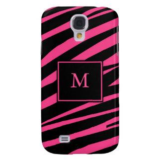 Caso do iPhone 3G da zebra do rosa quente do monog Capa Samsung Galaxy S4
