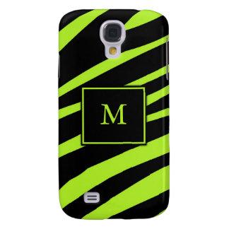 Caso do iPhone 3G da zebra do verde limão do monog Galaxy S4 Cover