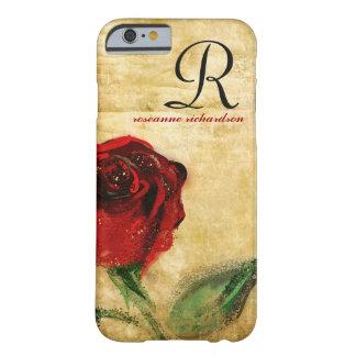 Caso do iPhone 6 do monograma da rosa vermelha do Capa Barely There Para iPhone 6