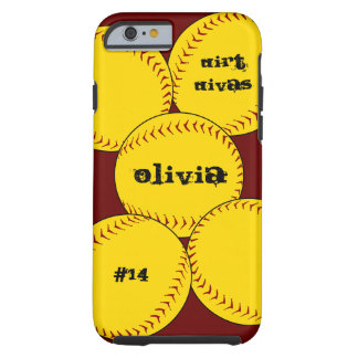 Caso do iPhone 6 do softball de Fastpitch Capa Tough Para iPhone 6