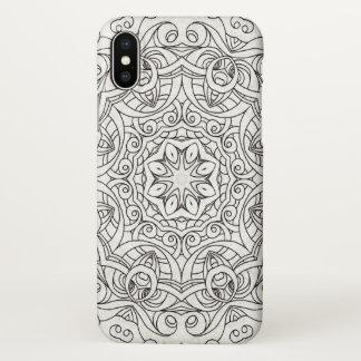 caso do iPhone X que tira o Doodle floral G2 Capa Para iPhone X