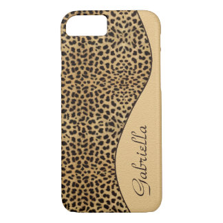 Caso feminino do iPhone 7 do monograma do leopardo Capa iPhone 7