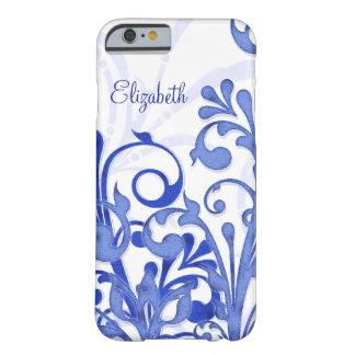 Caso floral abstrato do iPhone 6 do azul e do Capa Barely There Para iPhone 6