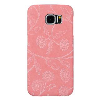 Caso floral cor-de-rosa capa para samsung galaxy s6