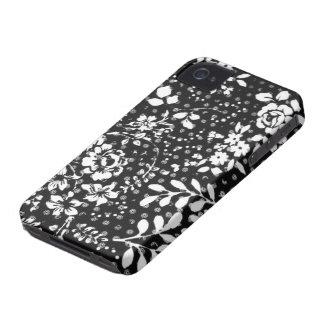Caso floral de Black&White iPhone4 do teste padrão Capa Para iPhone 4 Case-Mate