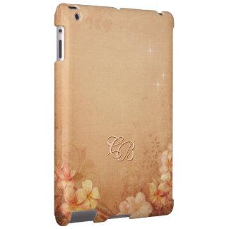 Caso floral do iPad do vintage com suas iniciais Capa Para iPad
