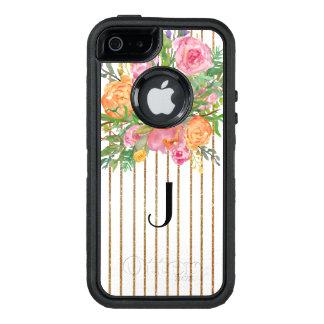Caso floral listrado do iPhone 5S de Otterbox do