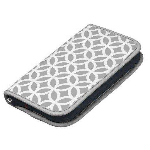 Caso in-folio de Smartphone - cinza de prata geomé Agendas