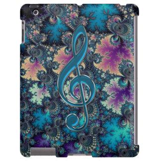 Caso metálico do iPad do Clef da música dos azuis Capa Para iPad