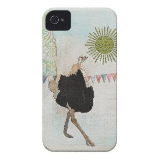 Caso ornamentado da luz do sol da avestruz capinha iPhone 4