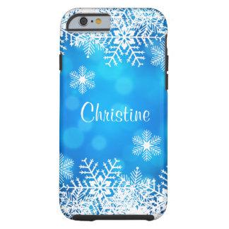 Caso resistente do iPhone 6 do floco de neve azul Capa Tough Para iPhone 6