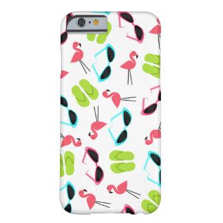 Caso retro do iPhone 6 do teste padrão do flamingo Capa Barely There Para iPhone 6