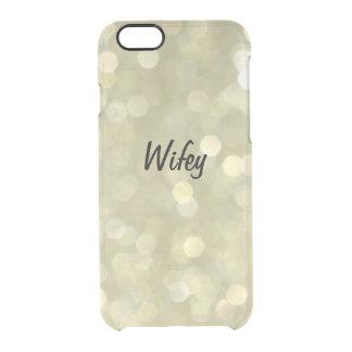 Caso Sparkly do iPhone 6/6s de Wifey do ouro Capa Para iPhone 6/6S Transparente