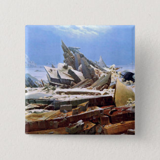 CASPAR DAVID FRIEDRICH - o mar do gelo 1824 Bóton Quadrado 5.08cm