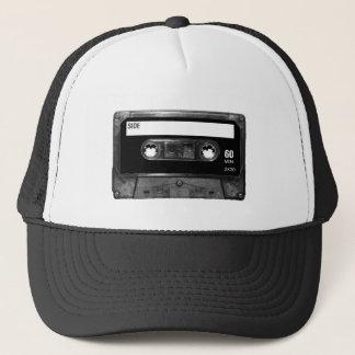 Cassete de banda magnética preta da etiqueta boné
