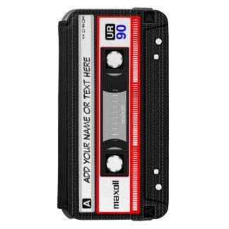 Cassete de banda magnética vermelha retro de