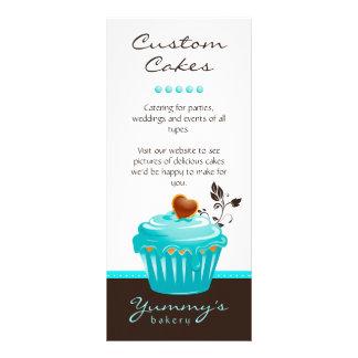 Castanho chocolate azul do cupcake do cartão da 10.16 x 22.86cm panfleto