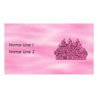 Castelo cor-de-rosa do conto de fadas cartão de visita