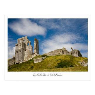 Castelo de Corfe, cartão de Dorset, Reino Unido