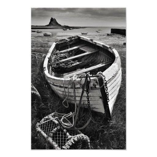 Castelo de Lindisfarne & barco velho - impressão s Impressão Fotográficas