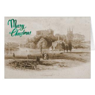 Castelo de Tamworth & cartão de Natal do moinho