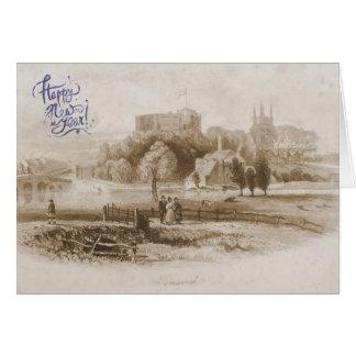 Castelo de Tamworth & cartão do feliz ano novo do