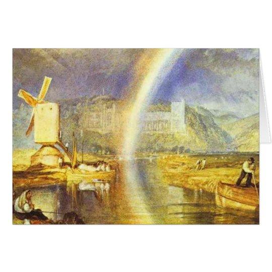 castelo de william Turner arundel, com arco-íris c Cartão Comemorativo
