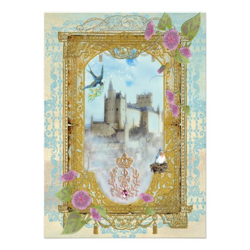 Castelo do conto de fadas nos convites das névoas